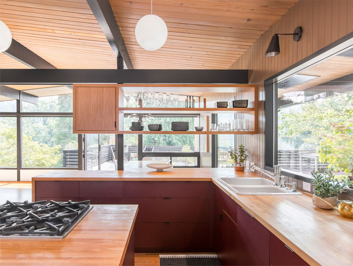 adorable mid century modern kitchen design 38