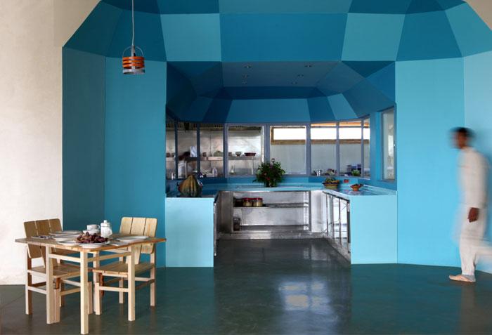 U shaped blue kitchen 1