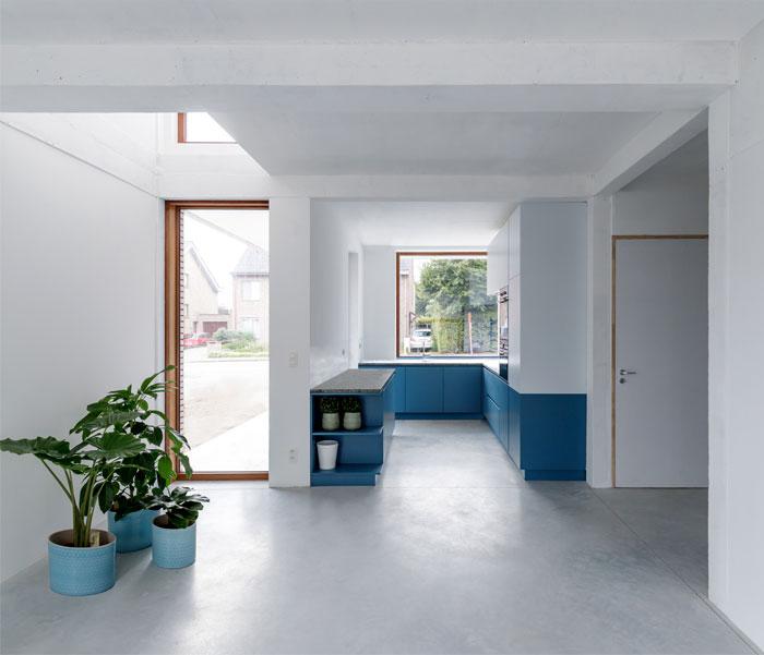 U shaped blue kitchen 3