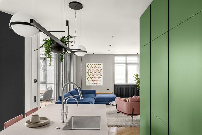 green L shaped kitchen apartment kyiv 1