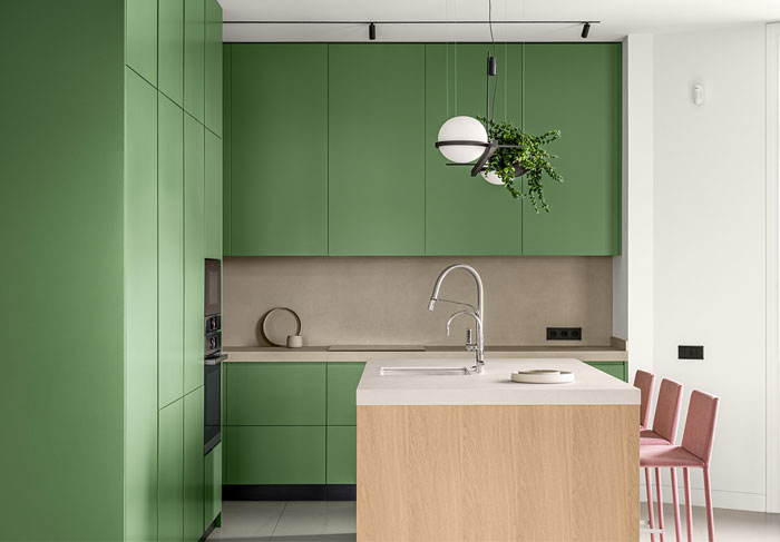 green L shaped kitchen apartment kyiv 11