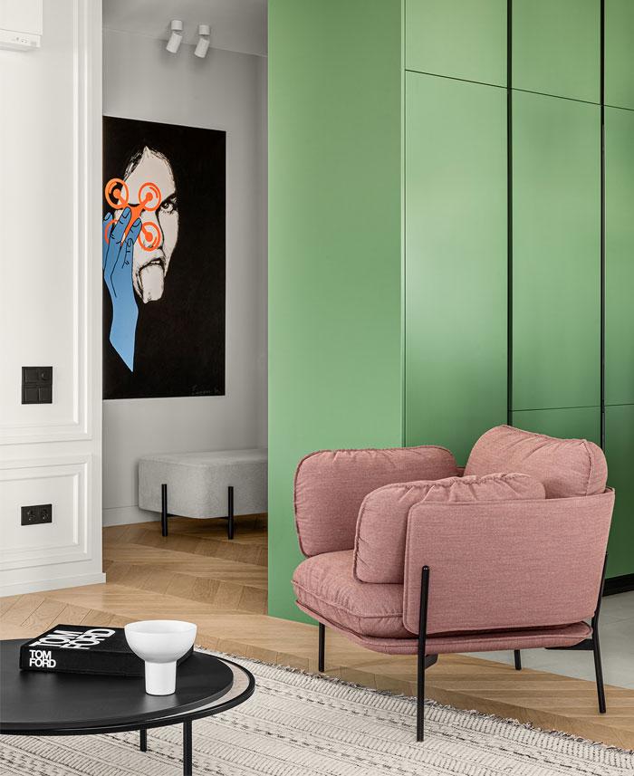 green L shaped kitchen apartment kyiv 16