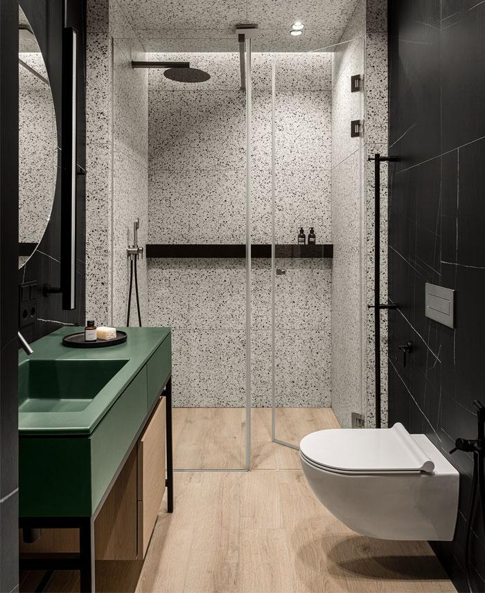 green L shaped kitchen apartment kyiv 3