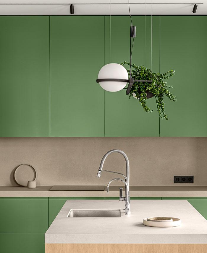 green L shaped kitchen apartment kyiv 4