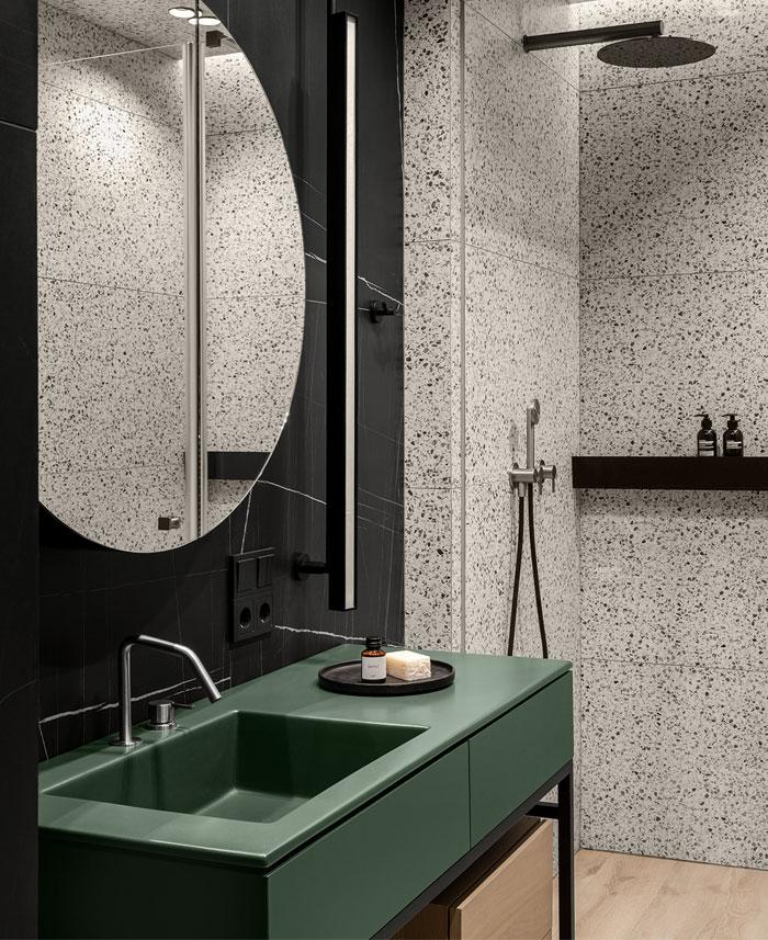 green L shaped kitchen apartment kyiv 6