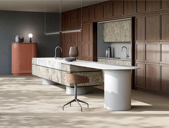 wooden kitchen with island