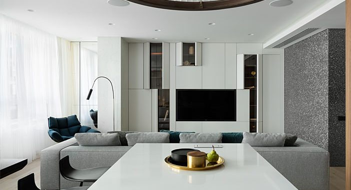 Interior of an Apartment in Residential Complex in Moscow by Kerimov Architects